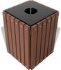 Wood or Plastic Trash Can Recycled Brown