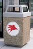 53 Gallon Custom Logo Concrete Square Outdoor Trash Can CLTF1040 with Silkscreen Logo
