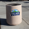 36 Gallon Custom Logo Concrete Round Outdoor Trash Can CLTF1175 with Cast In Logo