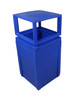 50 Gallon Evolve Cube Covered Trash Can Blue 101648