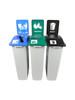 69 Gallon Simple Sort Skinny Recycling Center 8105060-255 (Mixed, Organics Lift Lid, Waste Lift Lid)
