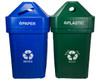 45 Gallon The Burly Indoor Outdoor Recycle Bin (2 Colors, 6 Message Choices)