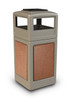 42 Gallon StoneTec Indoor Outdoor Trash Can Dome Lid and Ashtray Beige Sedona