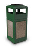 42 Gallon StoneTec Indoor Outdoor Trash Can Dome Lid and Ashtray Green Riverstone