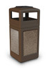 42 Gallon StoneTec Indoor Outdoor Trash Can Dome Lid and Ashtray Brown Riverstone