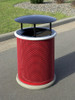 30 Gallon Ash Trash Lid Covered Outdoor Waste Container MF3006 with Gray Rim and Optional Concrete Base