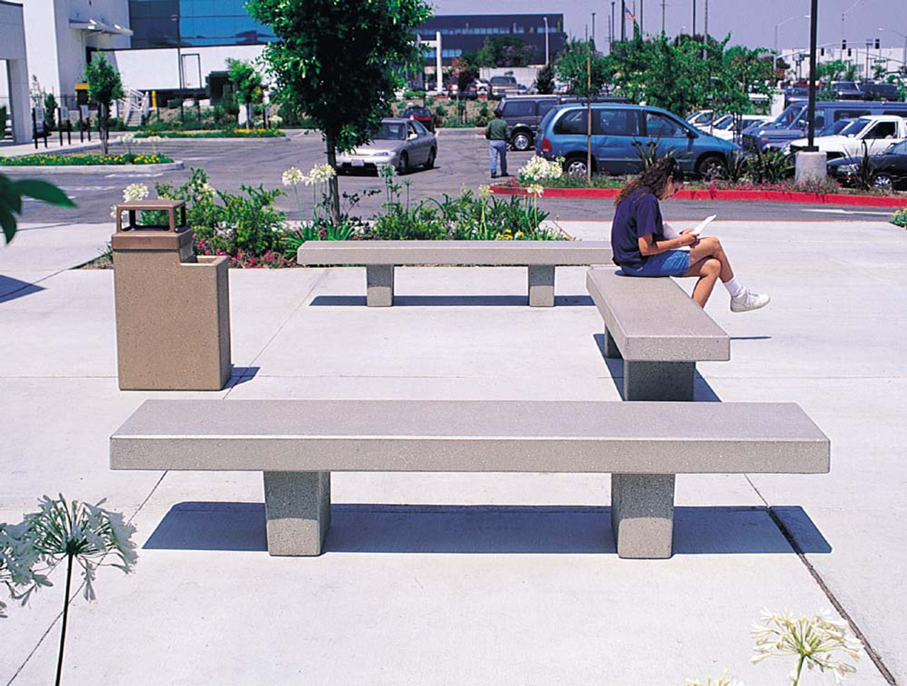 6 Foot Outdoor Concrete University Bench TF5029 on Campus