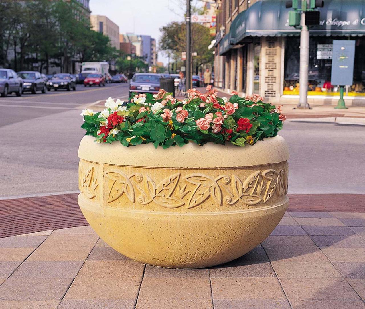 Decorative Round Outdoor Concrete Planter TF4220 on Street