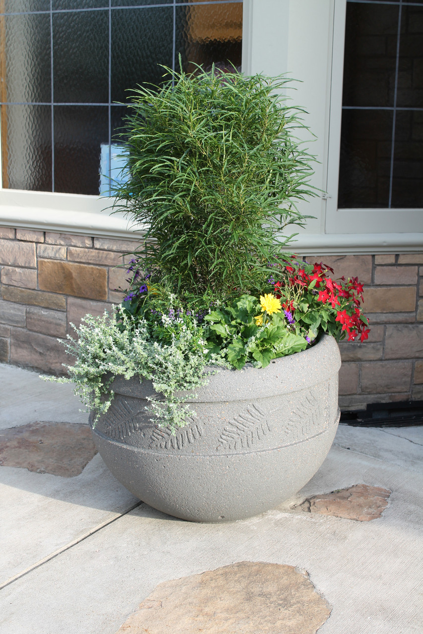 Decorative Round Outdoor Concrete Planter TF4220 with Plants and Flowers