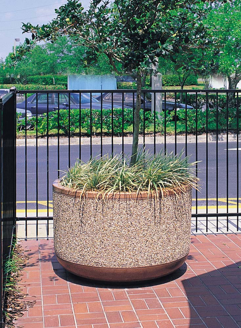 Outdoor Round Concrete Planter TF4095 in Courtyard