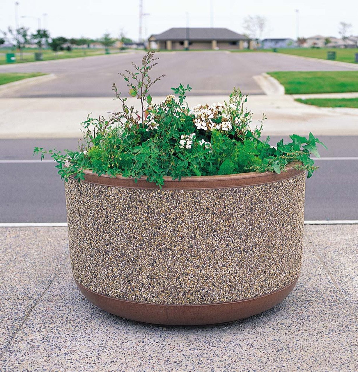 Outdoor Round Concrete Planter TF4095 Outside