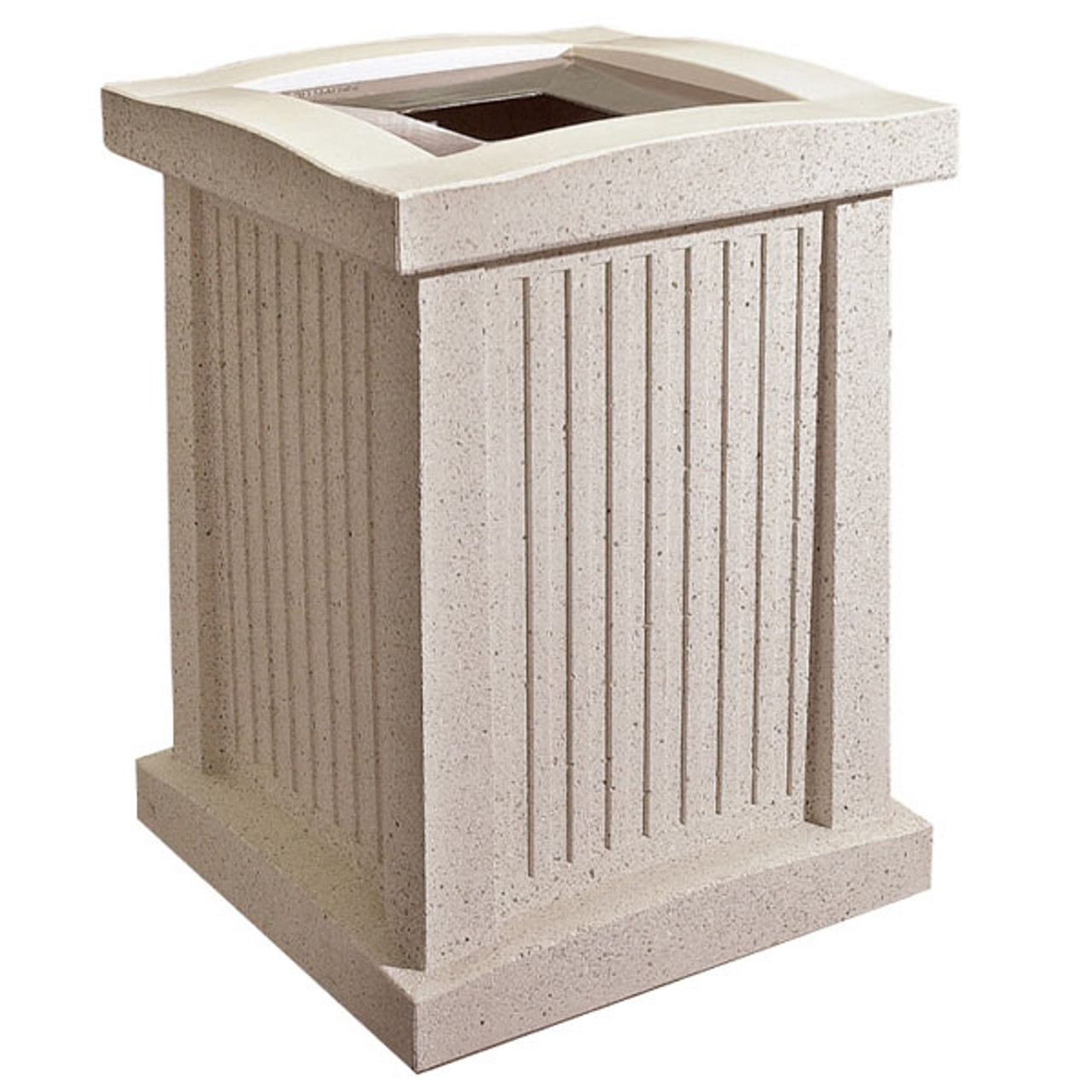 24 Gallon Square Concrete Outdoor Trash Receptacle SL102