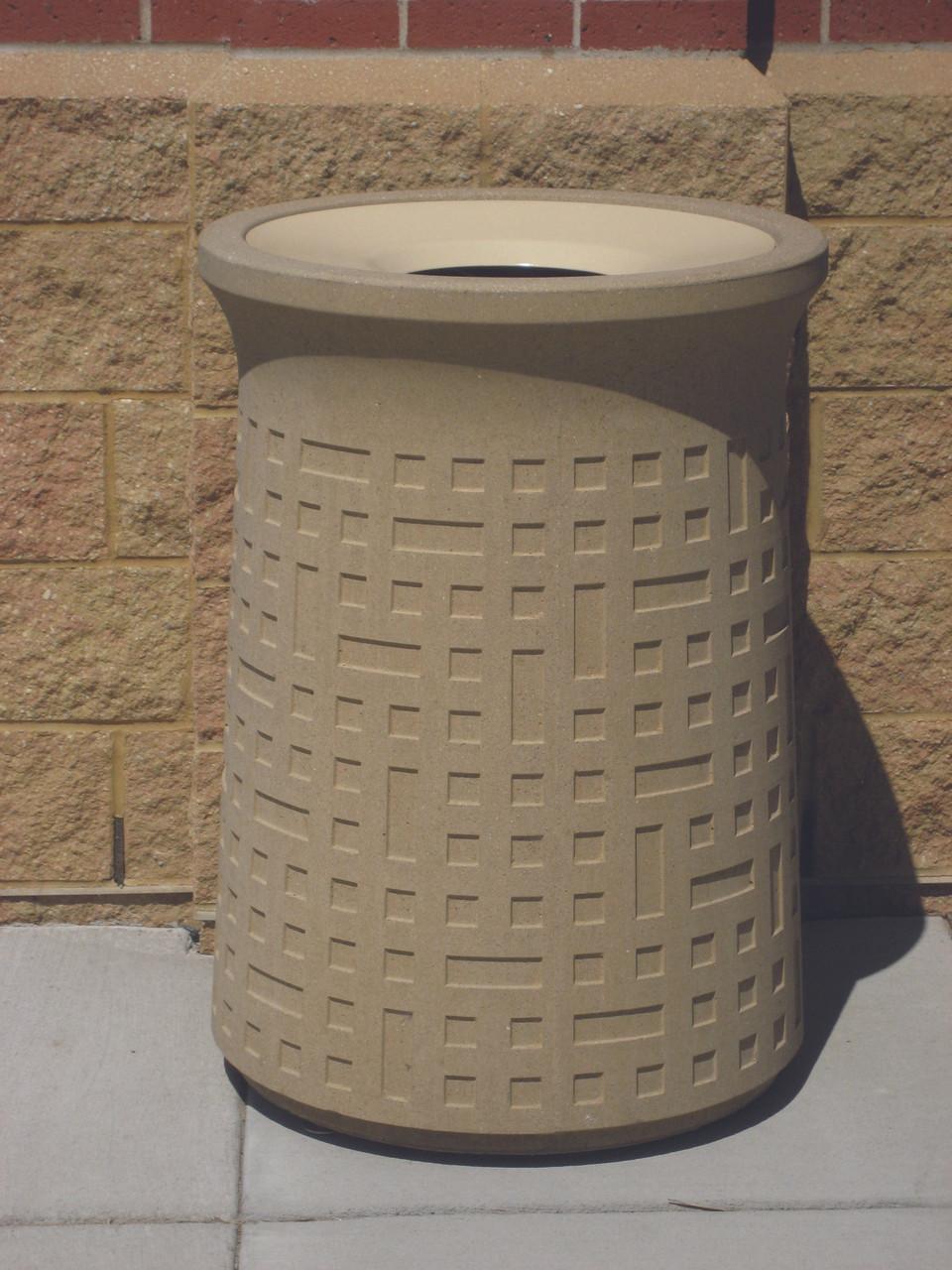 31 Gallon Outdoor Designer Concrete Trash Can WS101