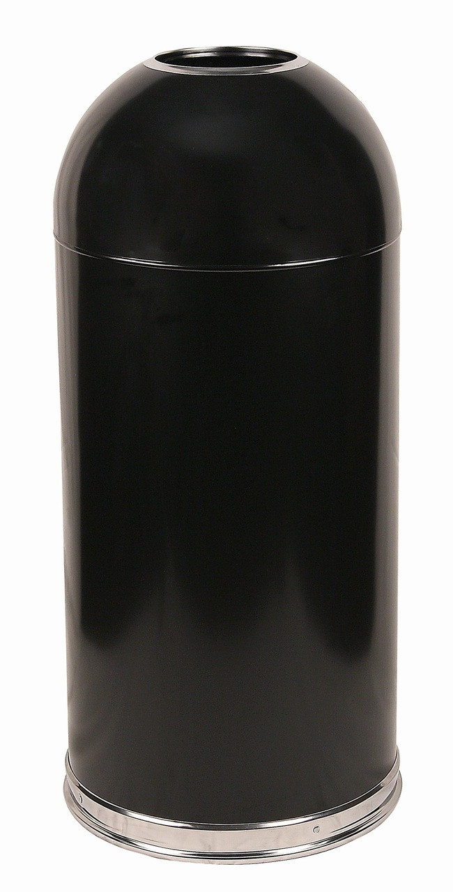 Metal 15 Gallon Open Dome Top Trash Can Black
