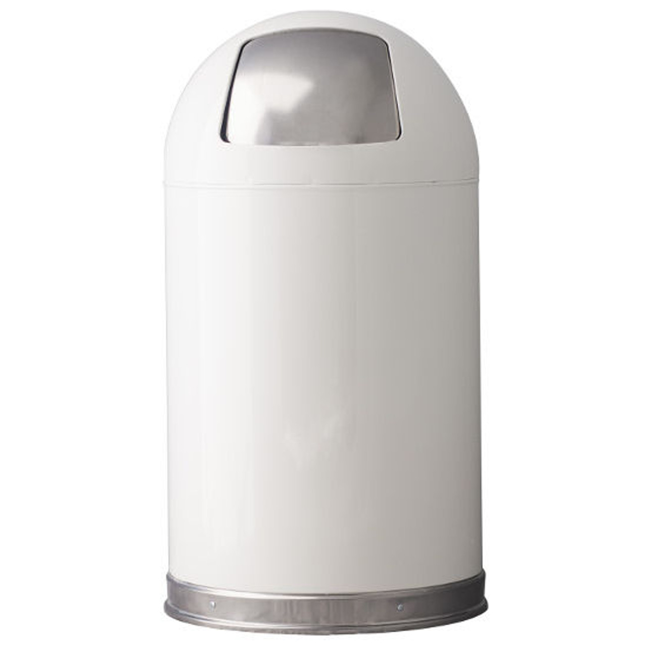 12 Gallon Metal White Push Door Dome Top Trash Can 12DT
