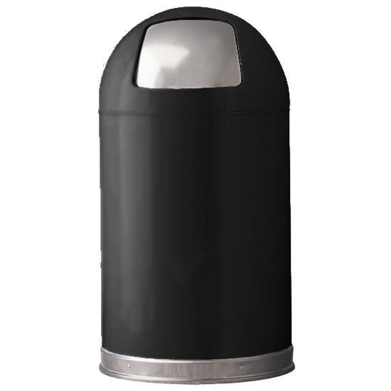12 Gallon Metal Black Push Door Dome Top Trash Can 12DT