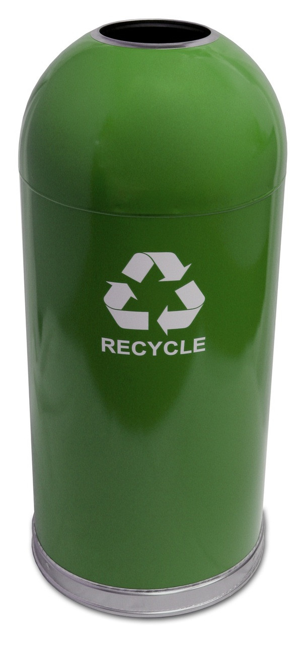 15 Gallon Steel Open Dome Top Recycling Trash Can Green