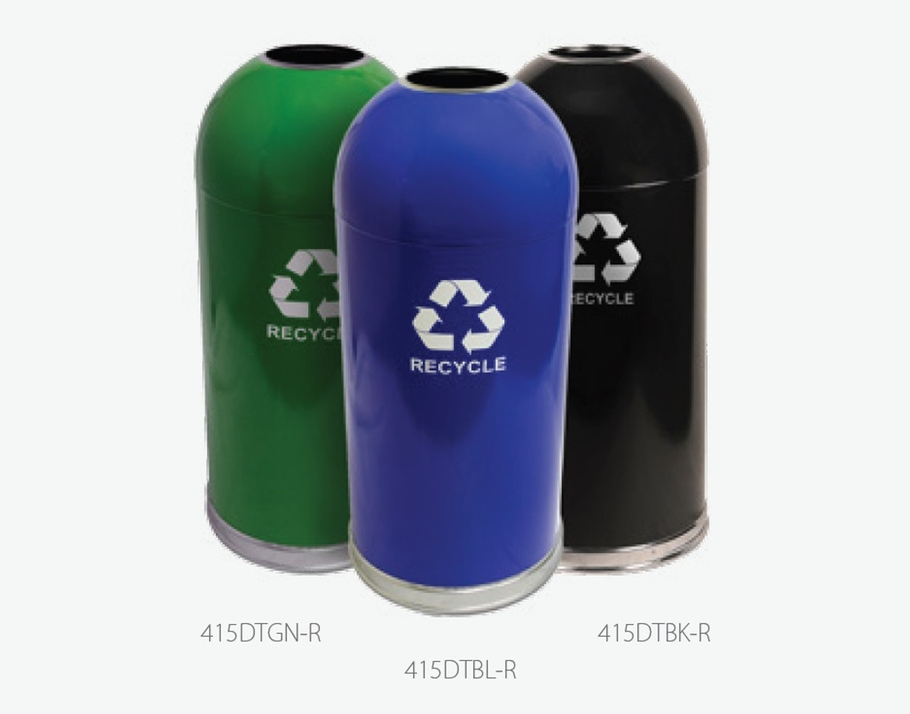 15 Gallon Steel Open Dome Top Recycling Trash Can 415DT-R (3 Colors)