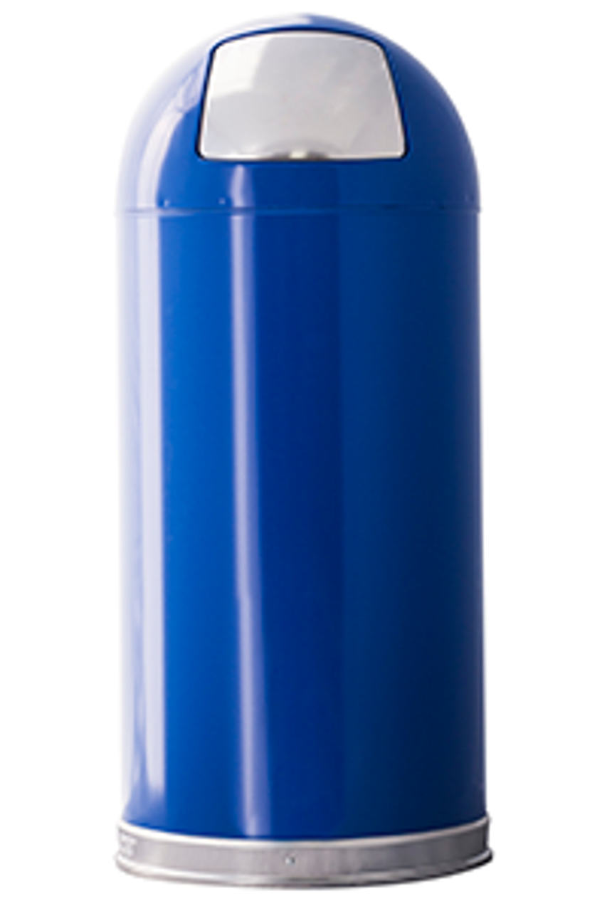 Metal 15 Gallon Push Door Dome Top Trash Can Blue
