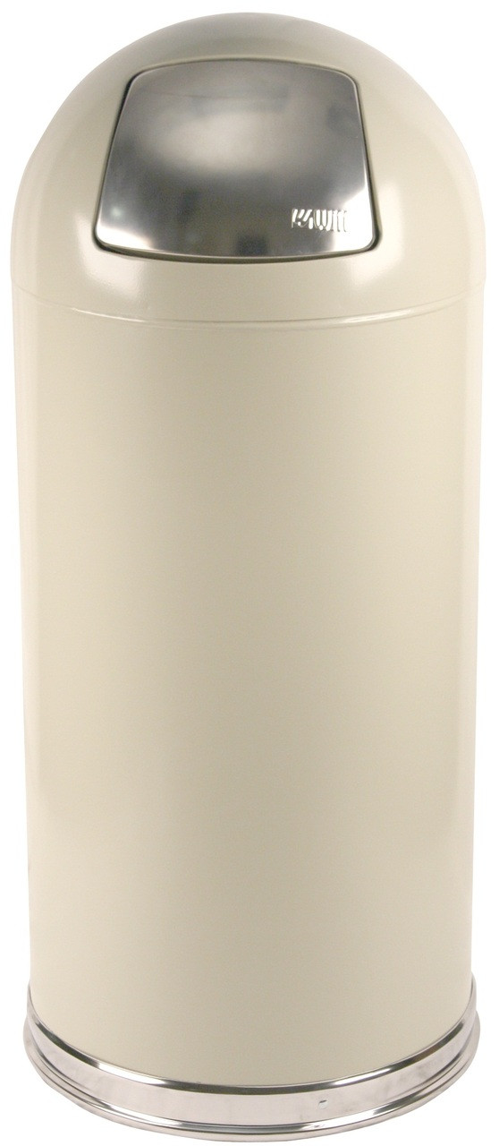 Metal 15 Gallon Push Door Dome Top Trash Can Almond