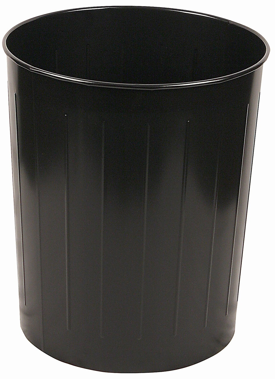 Witt Industries 50 Quart Round Metal Wastebasket Black