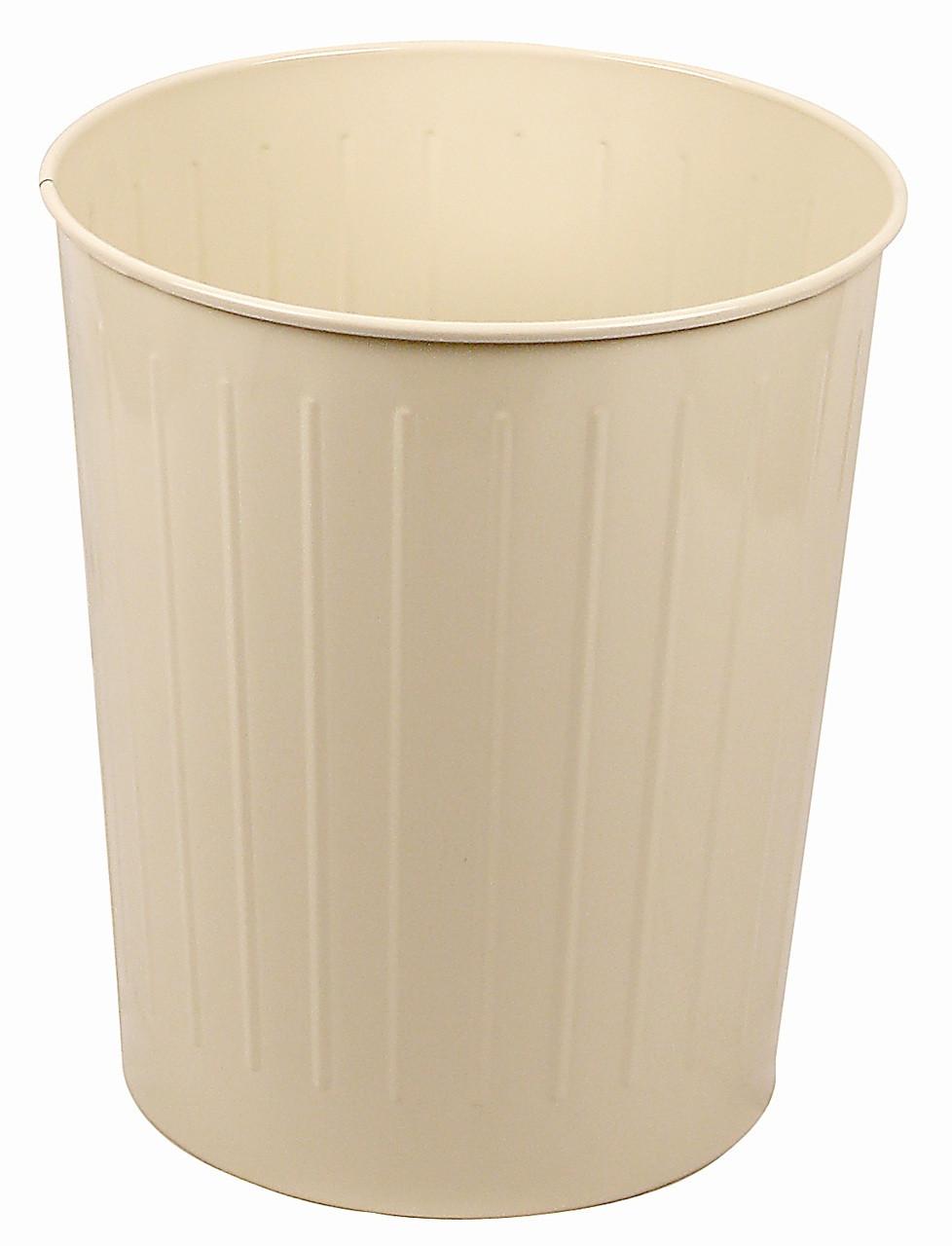 Witt Industries 50 Quart Round Metal Wastebasket Almond