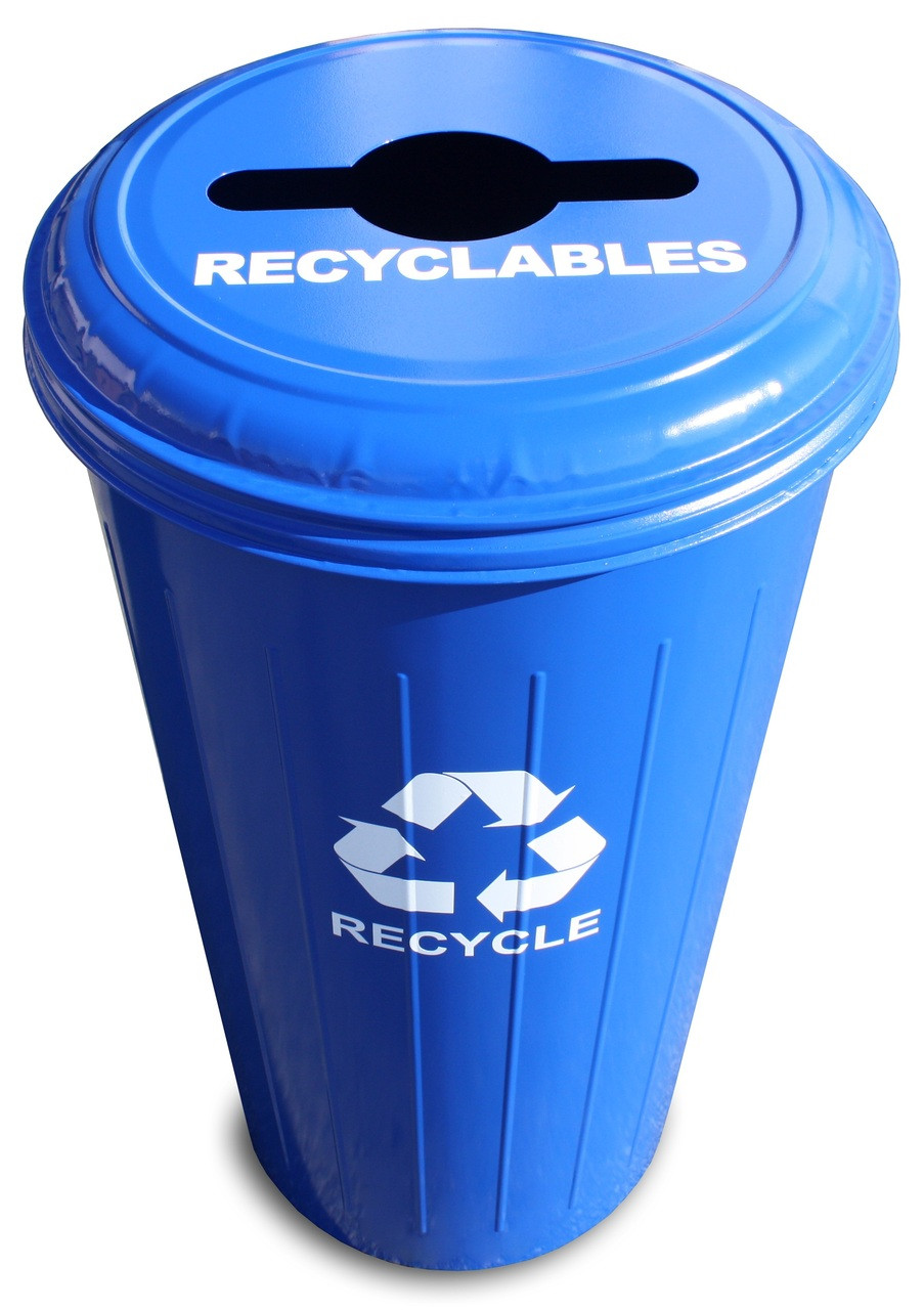 Metal 20 Gallon Can or Paper Collector Recycling Bin Blue Recyclables