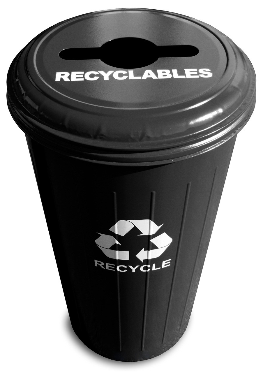 Metal 20 Gallon Can or Paper Collector Recycling Bin Black Recyclables