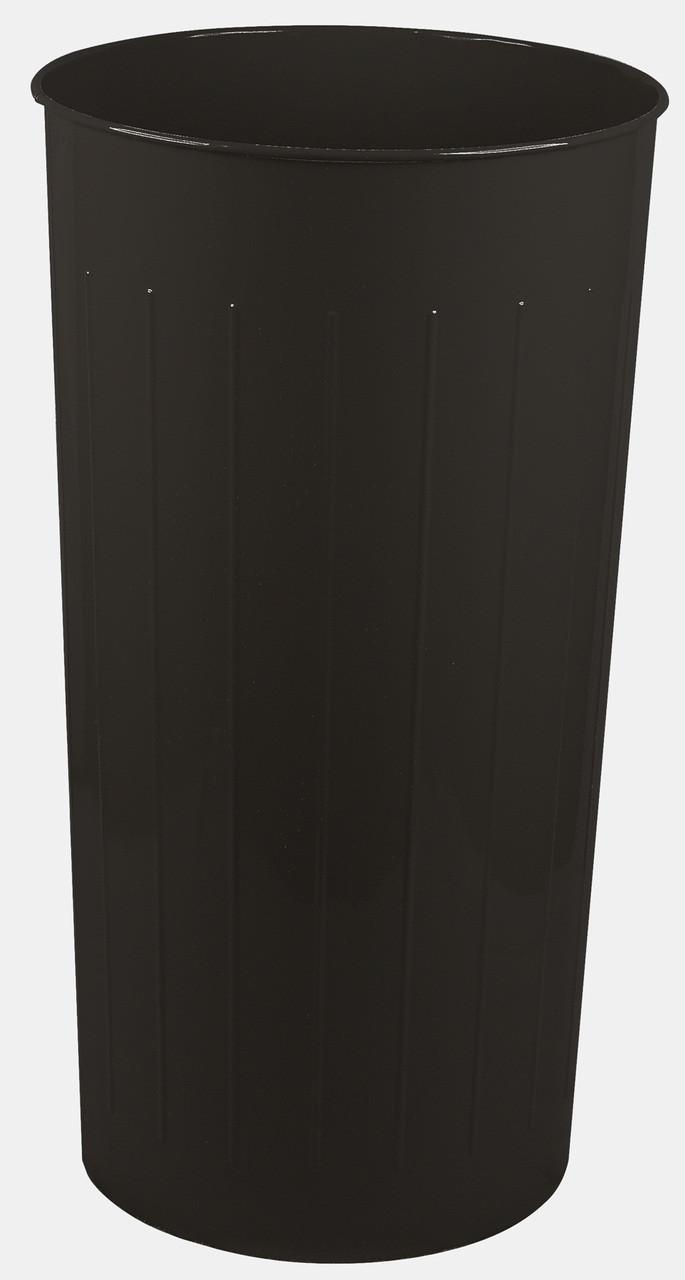 Witt Industries 80 Quart Round Metal Wastebasket Black
