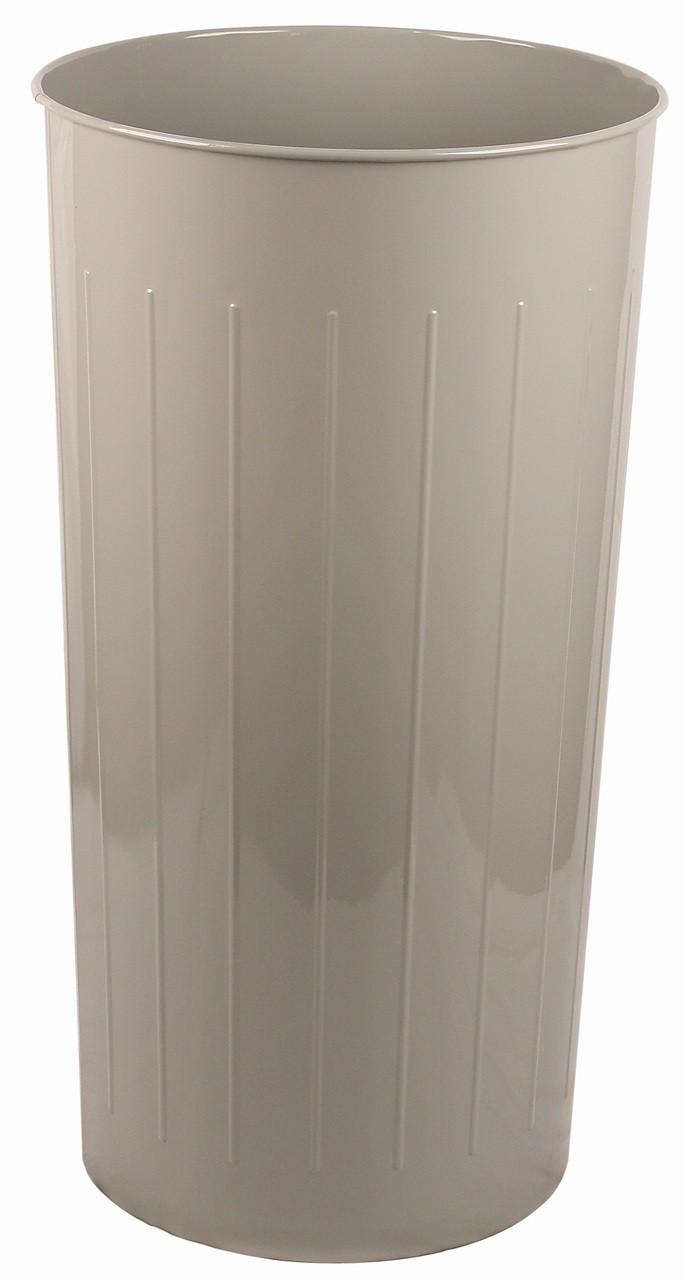 Witt Industries 80 Quart Round Metal Wastebasket Slate