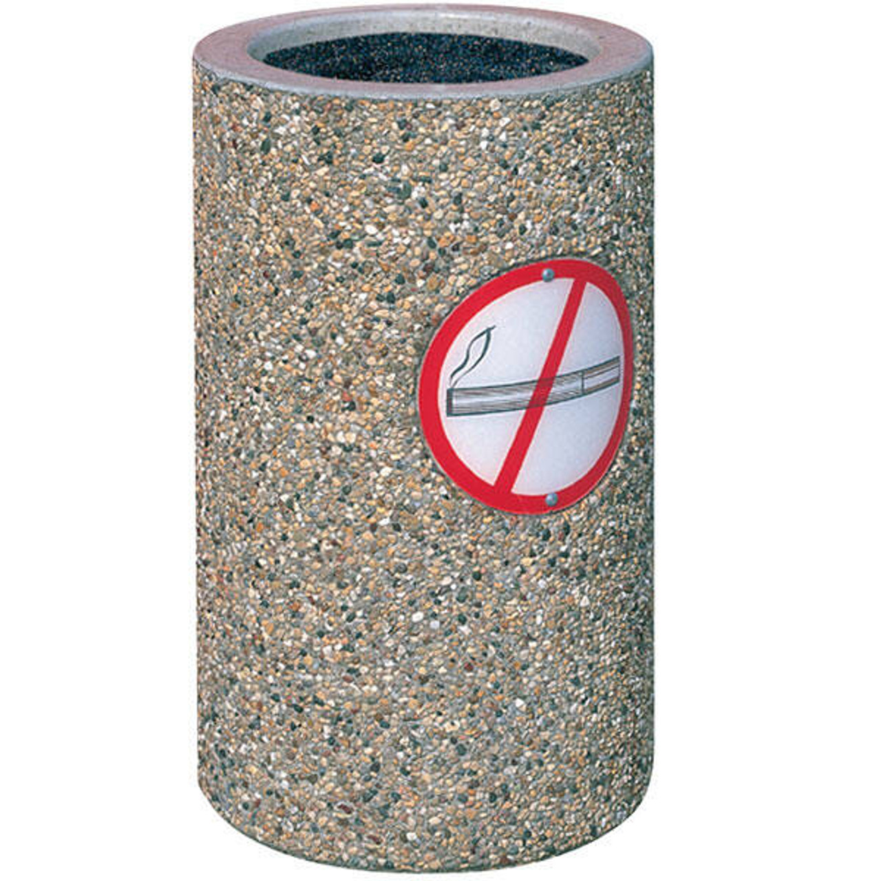 Concrete Ash Urn Outdoor Ashtray TF2005 with No Smoking Logo Exposed Aggregate