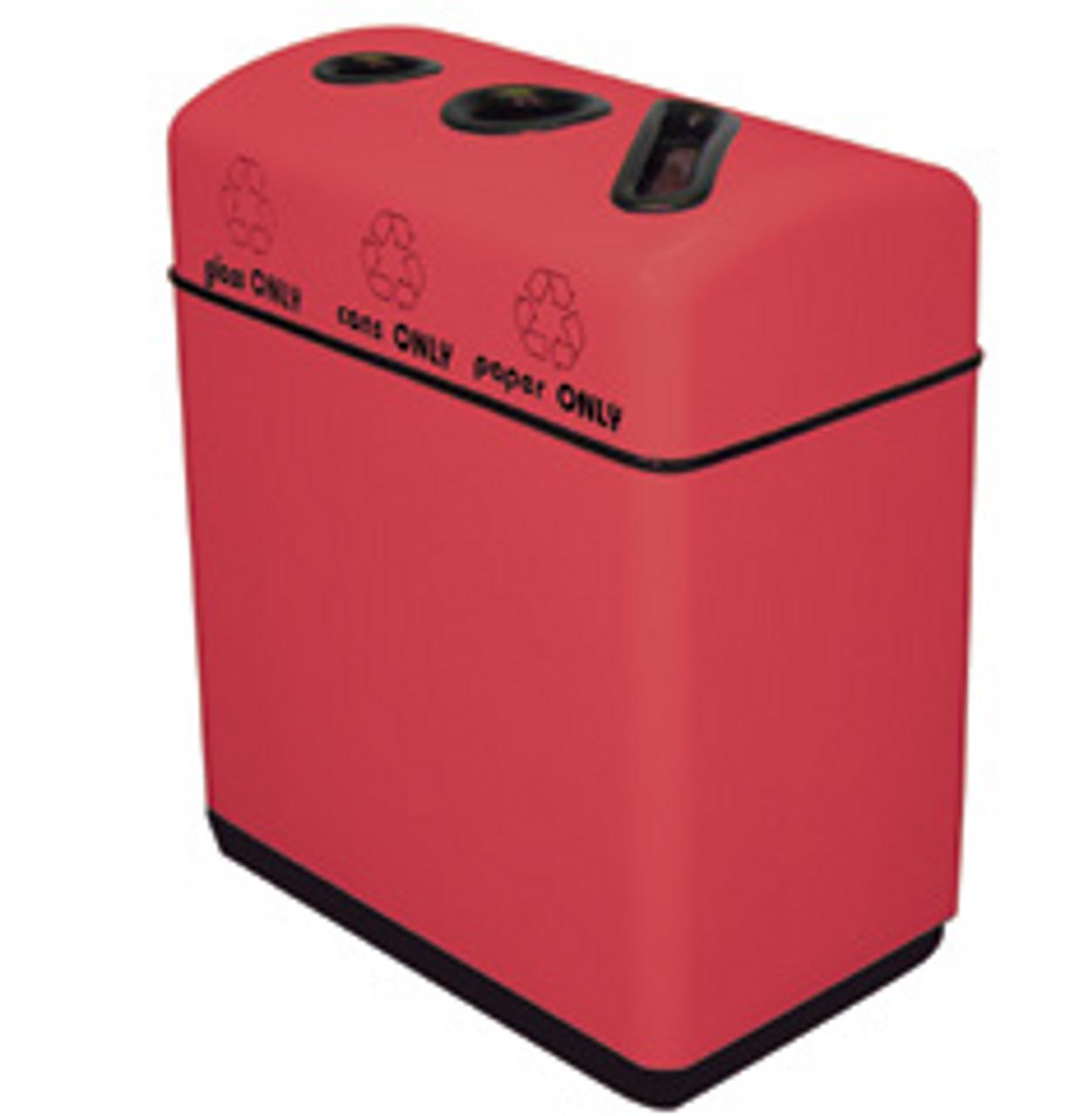 33 Gallon Fiberglass Three Opening Recycling Bin