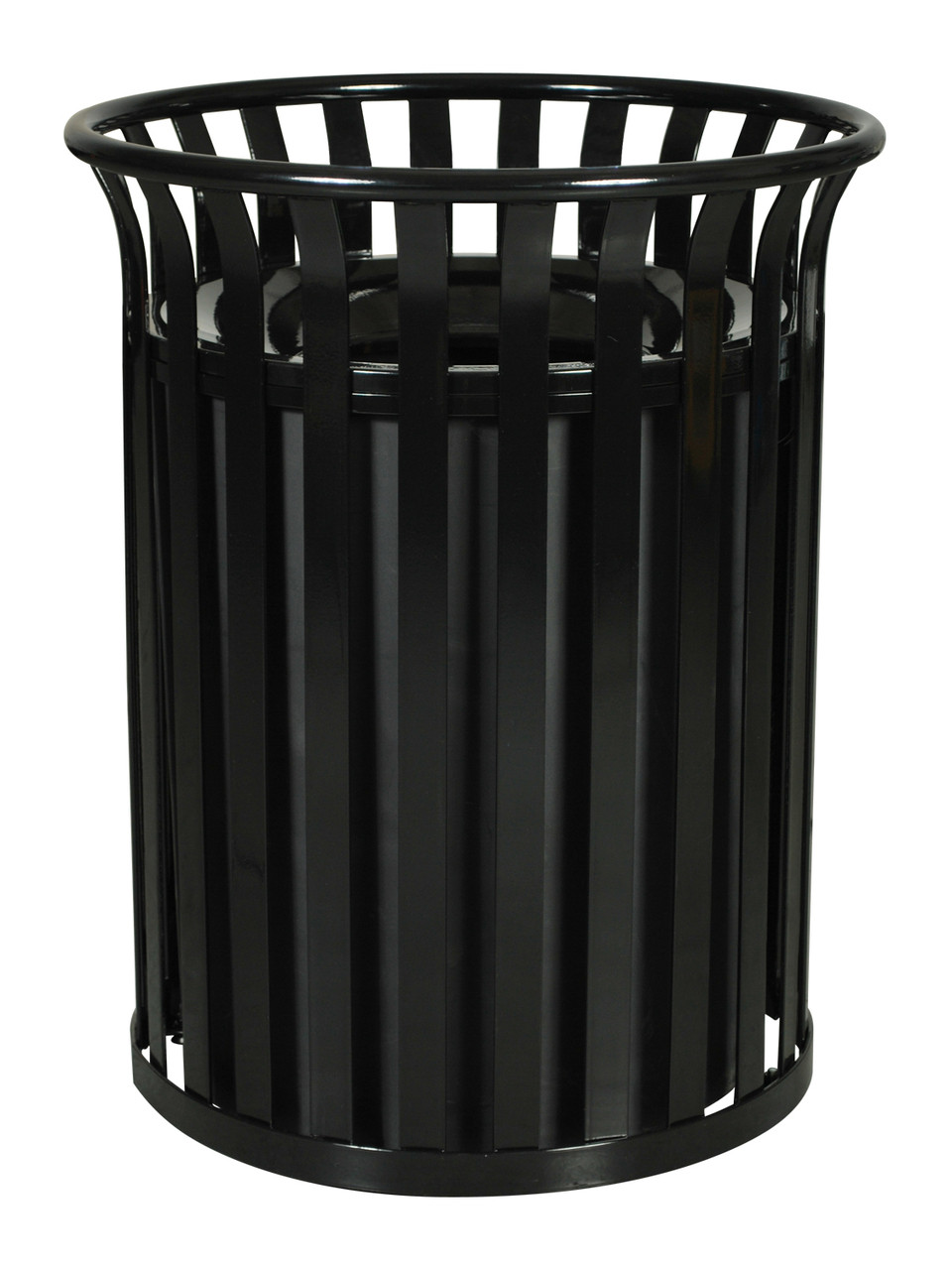 37 Gallon Metal Outdoor Street Scape Trash Can Black
