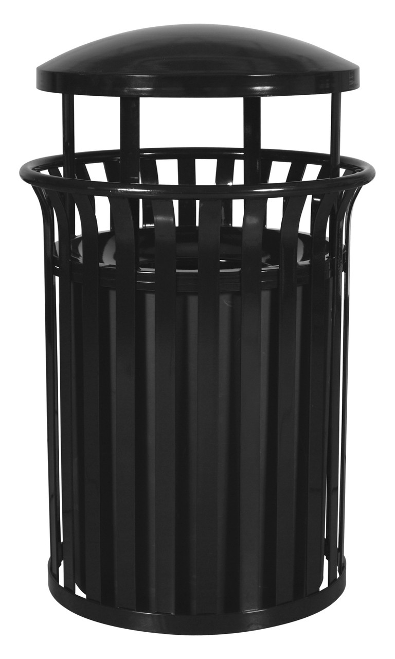 37 Gallon Metal Outdoor Street Scape Trash Can with Rain Cap