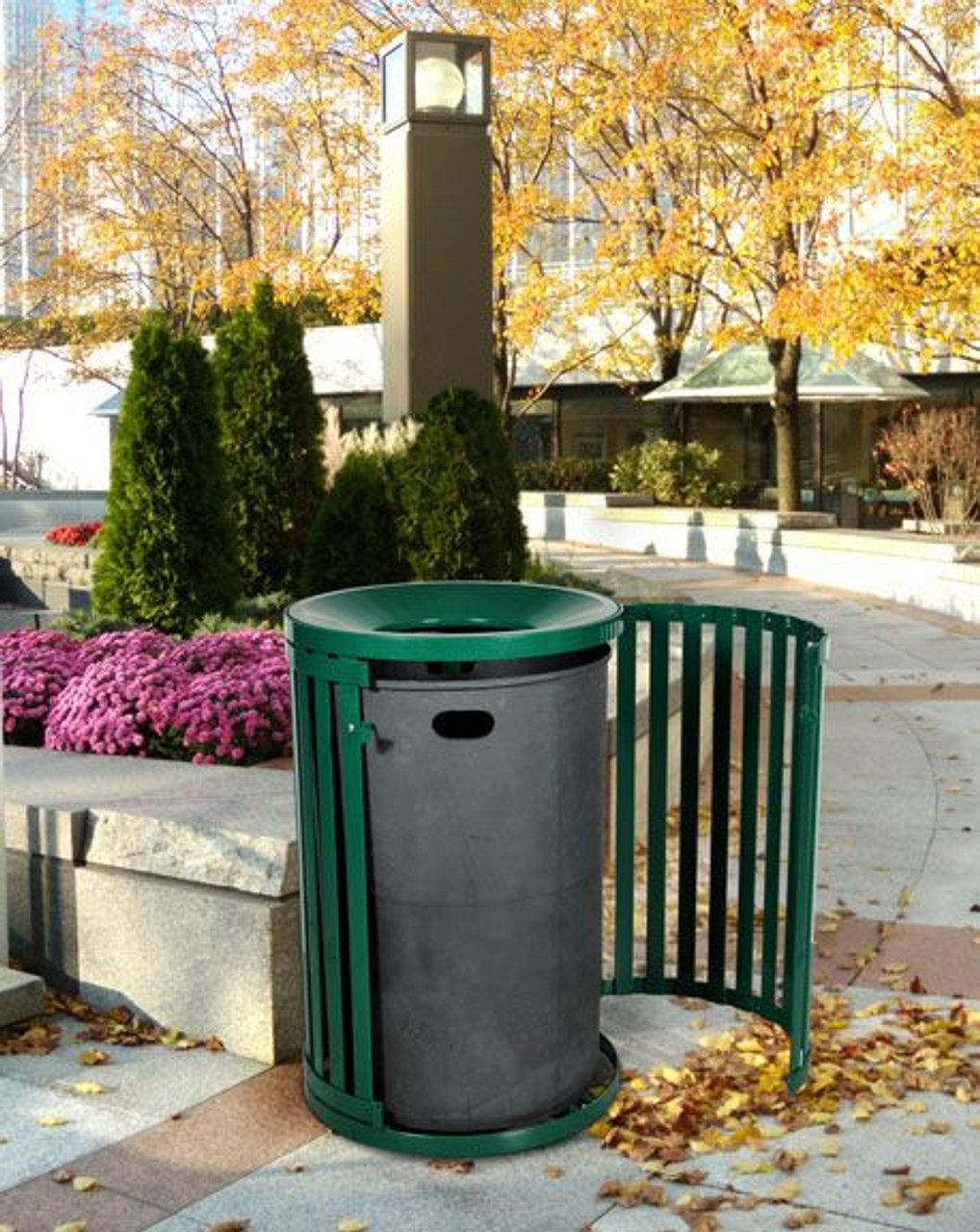 Side Gate Garbage Can in City Square