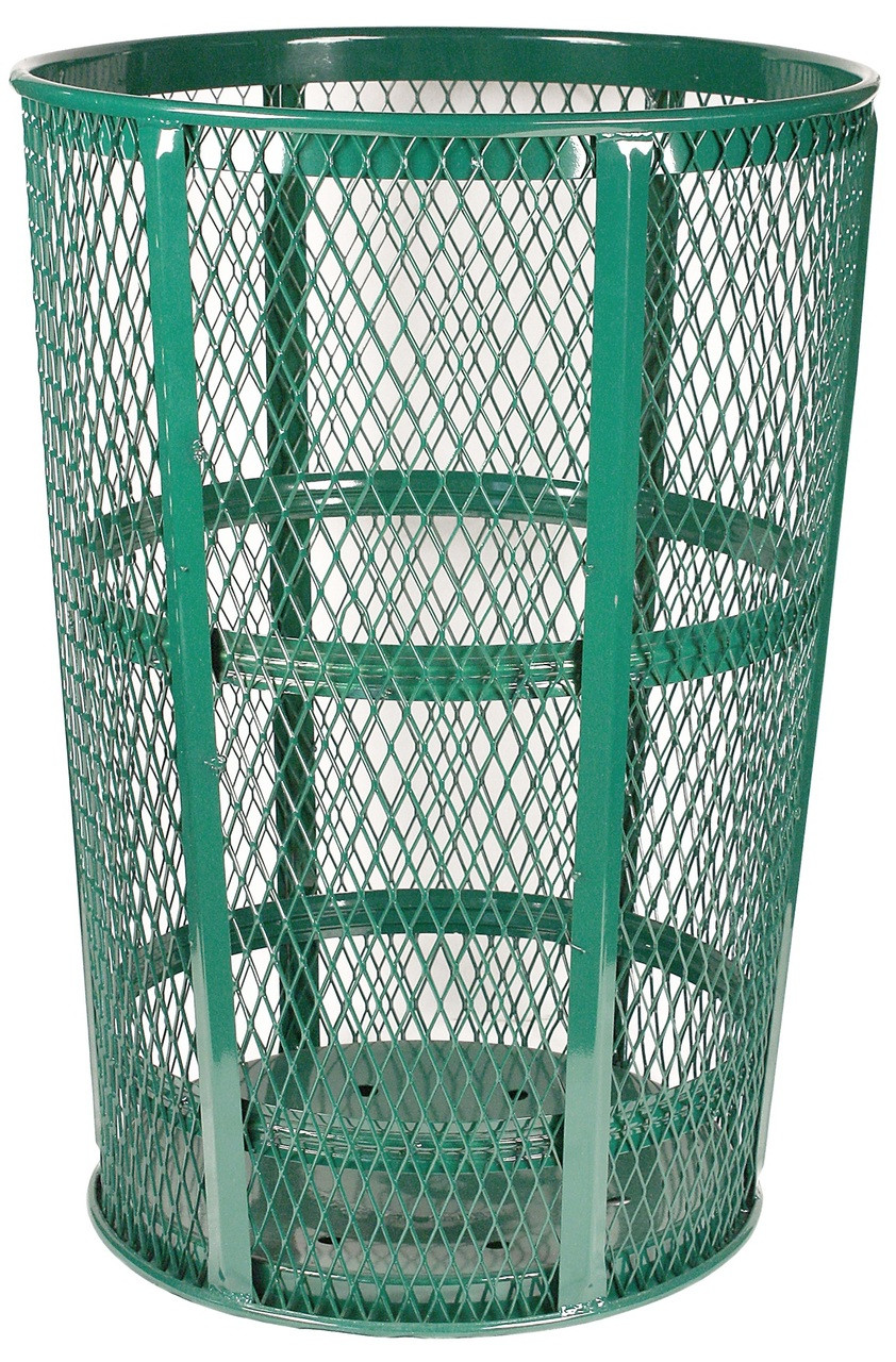 Witt Industries 48 Gallon Metal Mesh Street Park Trash Receptacle Green