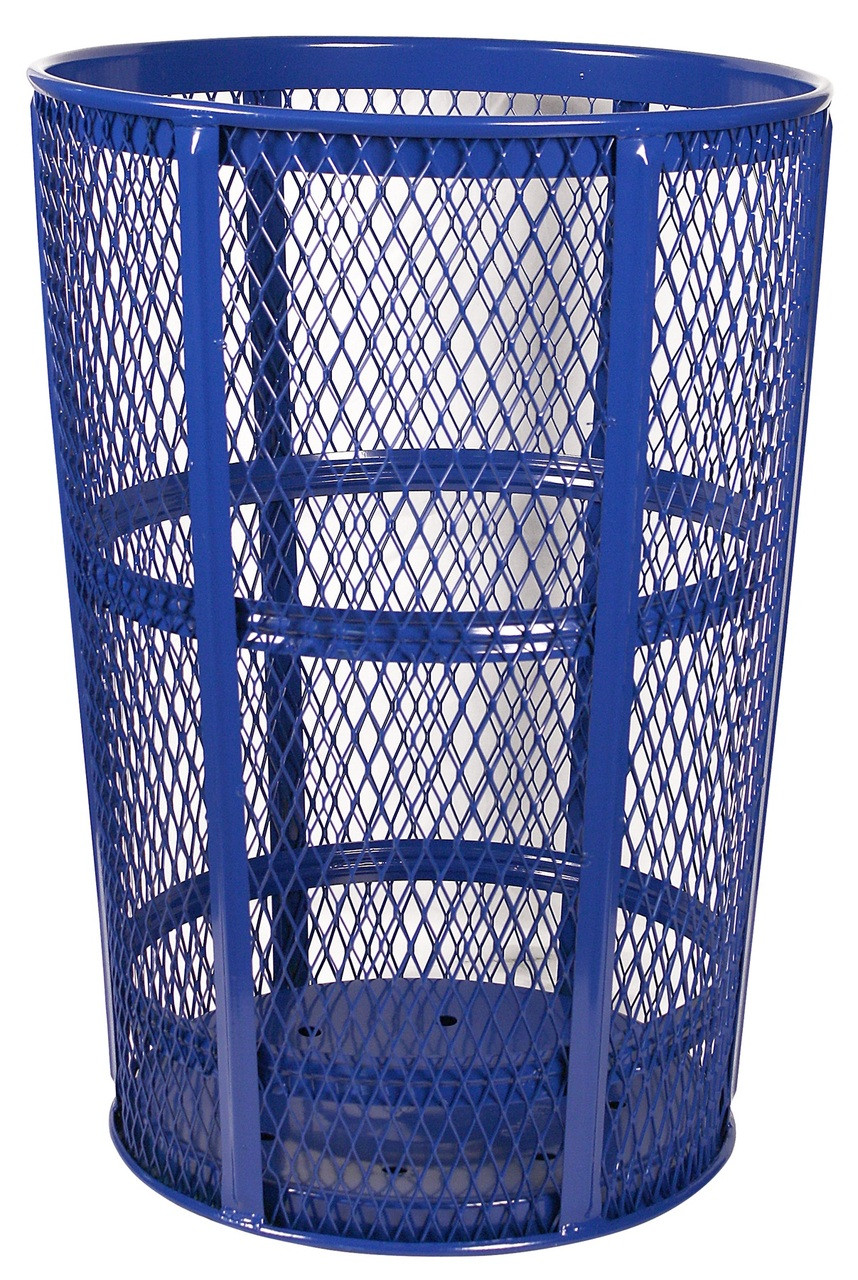 Witt Industries 48 Gallon Metal Mesh Street Park Trash Receptacle Blue