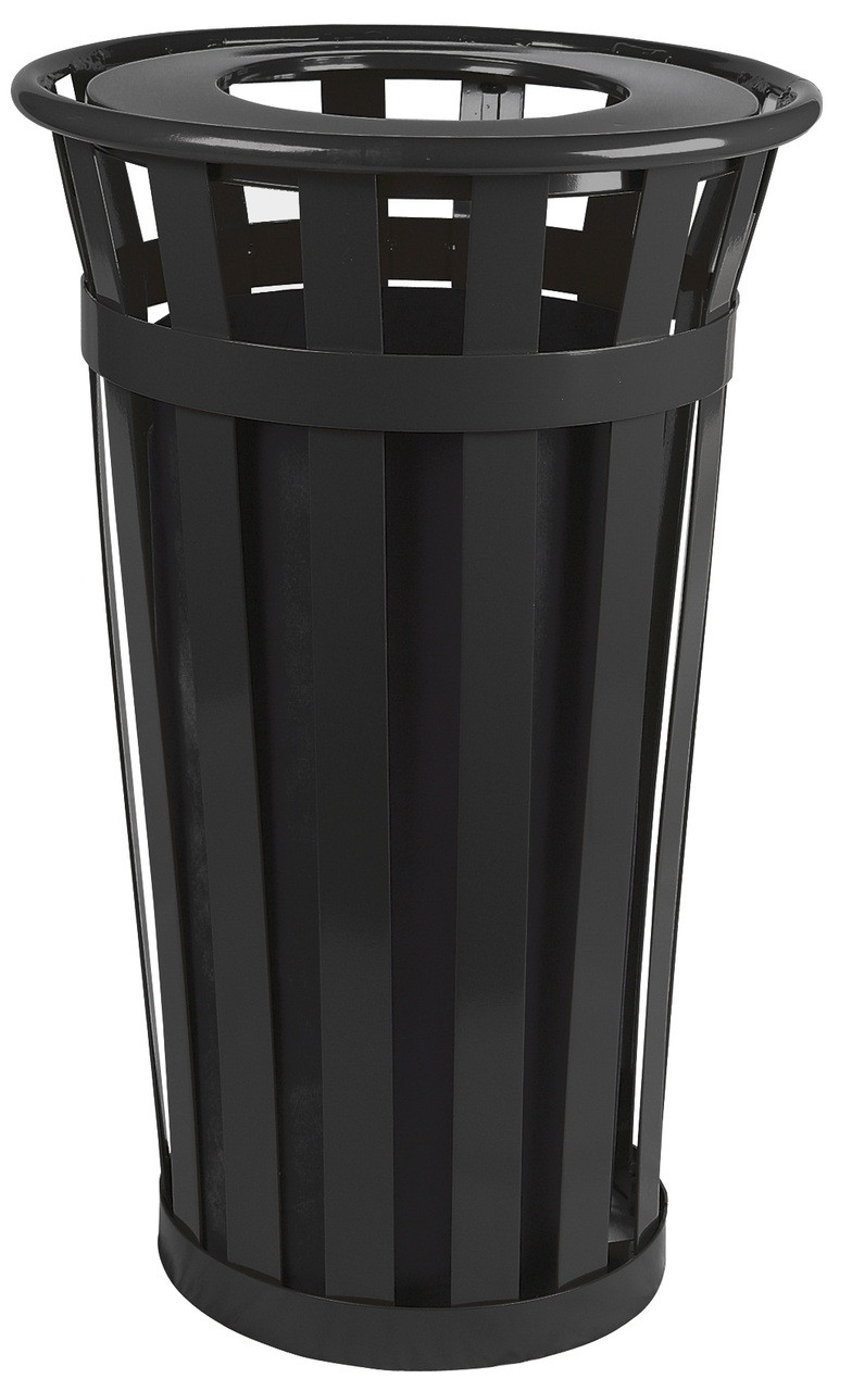 24 Gallon Oakley M2401-FT-BK Outdoor Waste Receptacle Black