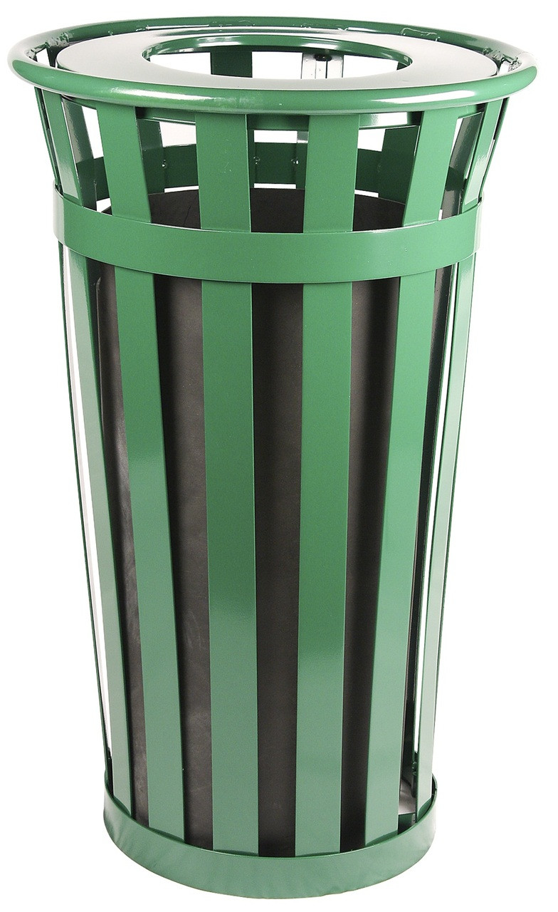 24 Gallon Oakley M2401-FT-GN Outdoor Waste Receptacle Green