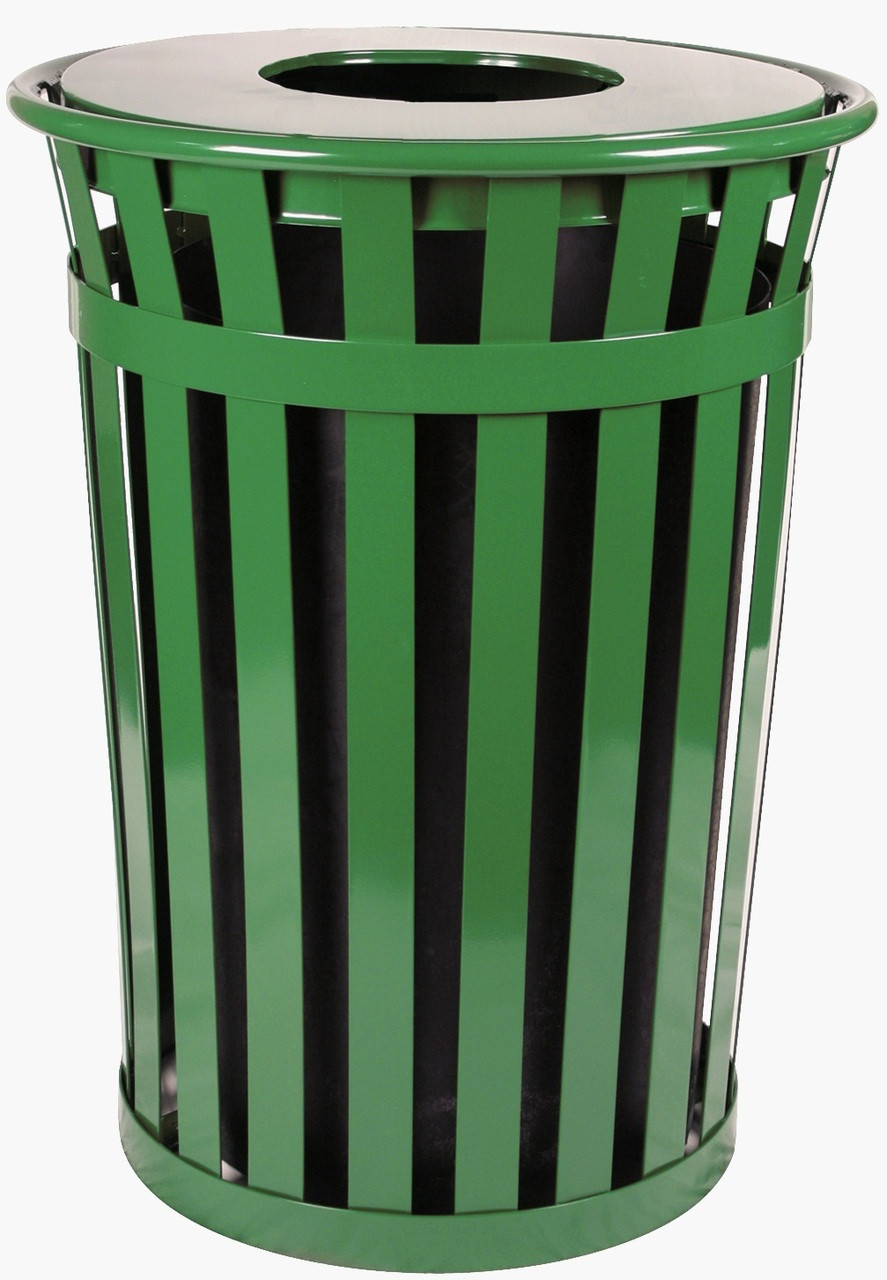 36 Gallon Oakley M3601-FT-GN Outdoor Waste Receptacle Green