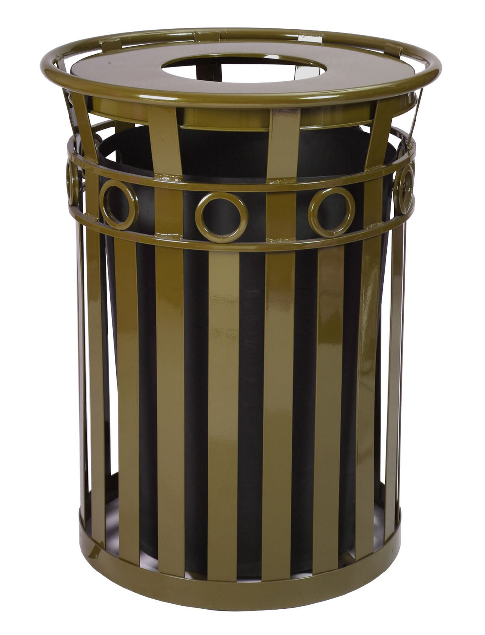 36 Gallon Oakley M3600-R-FT-BN Outdoor Waste Receptacle Brown