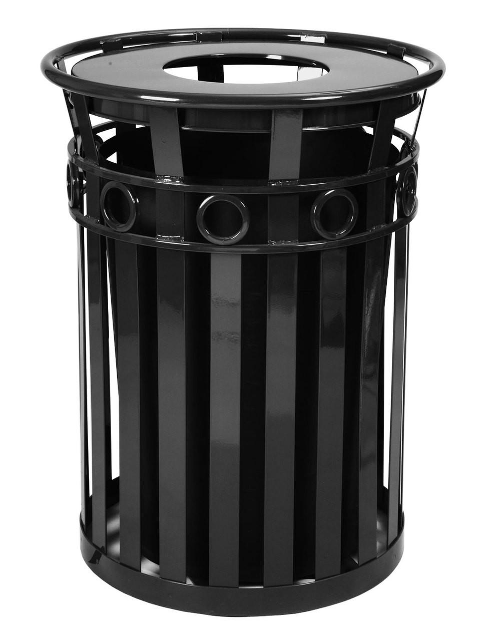 40 Gallon Oakley M3600-R-FT-BK Outdoor Waste Receptacle Black