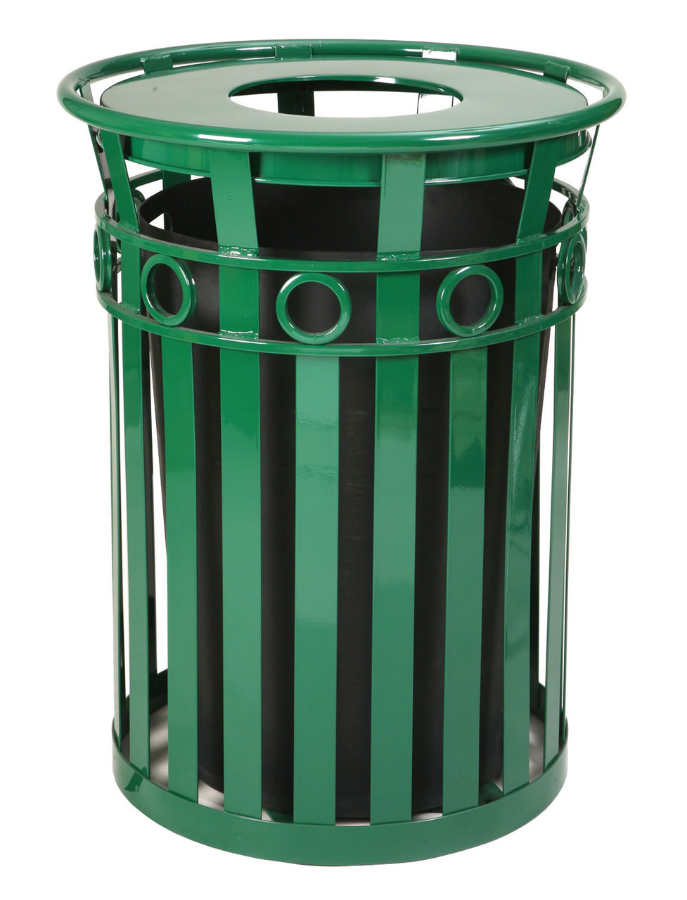 36 Gallon Oakley M3600-R-FT-GN Outdoor Waste Receptacle Green