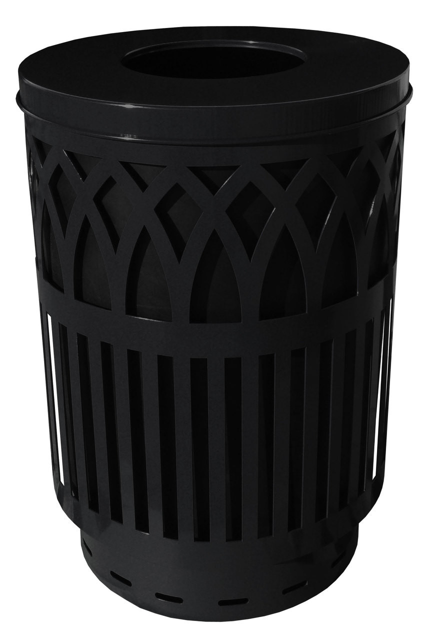 40 Gallon Covington Metal Outdoor City Trash Can Park Garbage Can Black COV40P-FT-BK