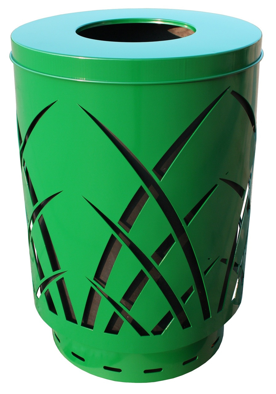 40 Gallon Laser Cut Saw Grass Outdoor Waste Container Green SAW40P-FT-GN