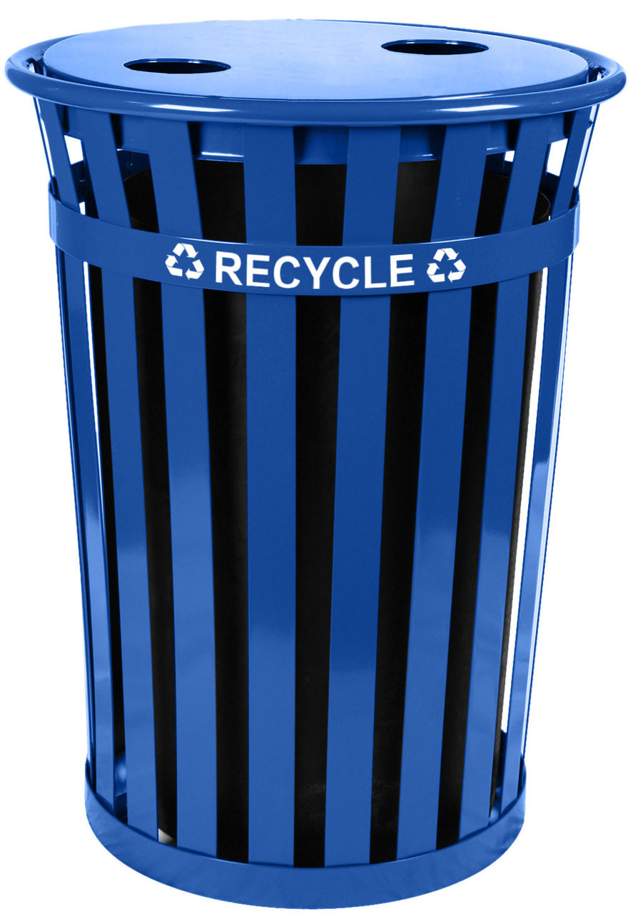 36 Gallon Oakley Metal Recycling Outdoor City Trash Can MR36-FT-RBL
