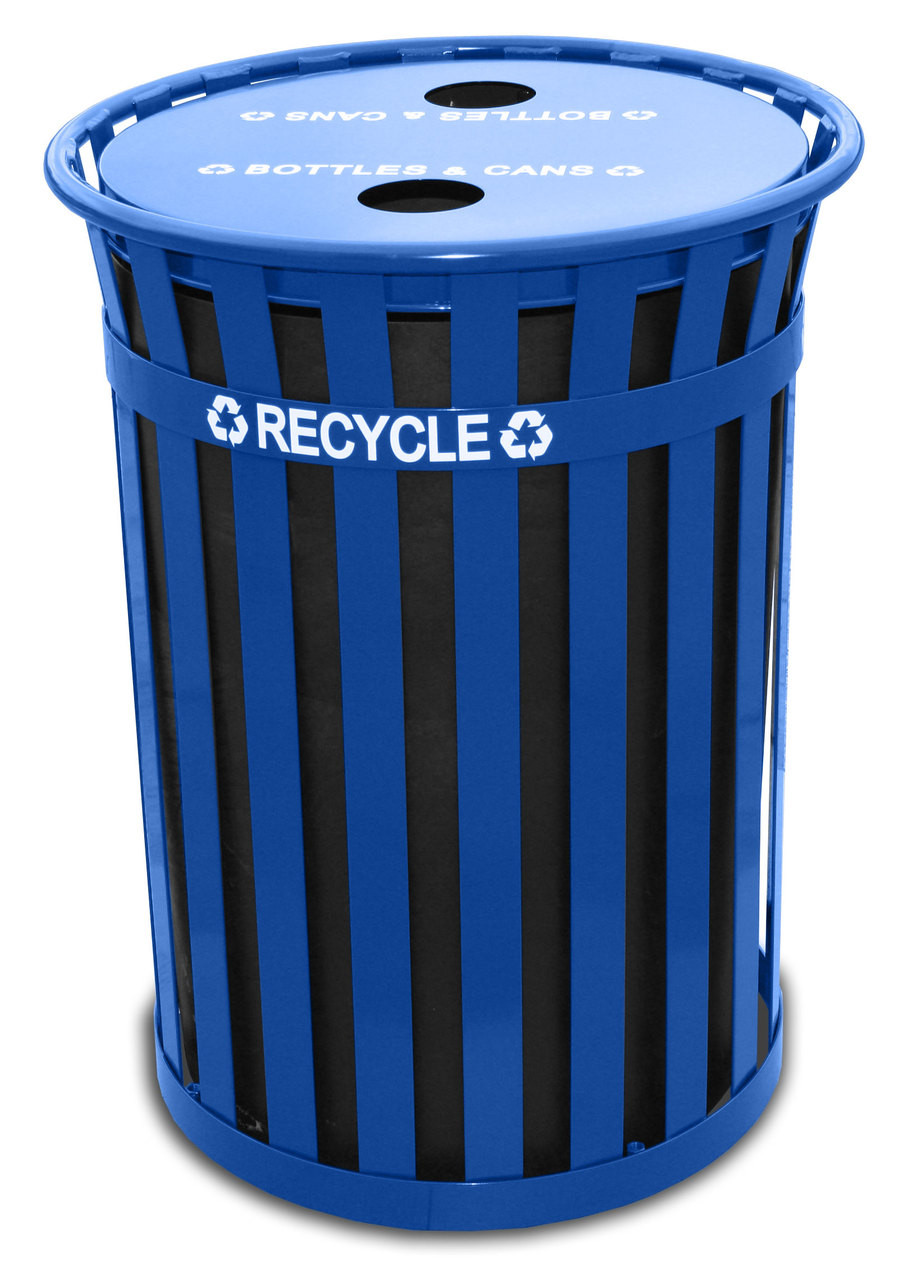 50 Gallon Witt Oakley Extra Large Recycling Outdoor City Trash Can MR50-FTR-BL