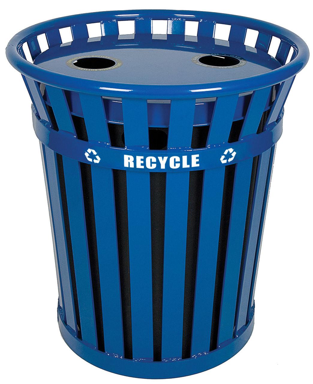 36 Gallon Wydman Metal Recycling Outdoor Park Trash Can WCR36-FTR-BL