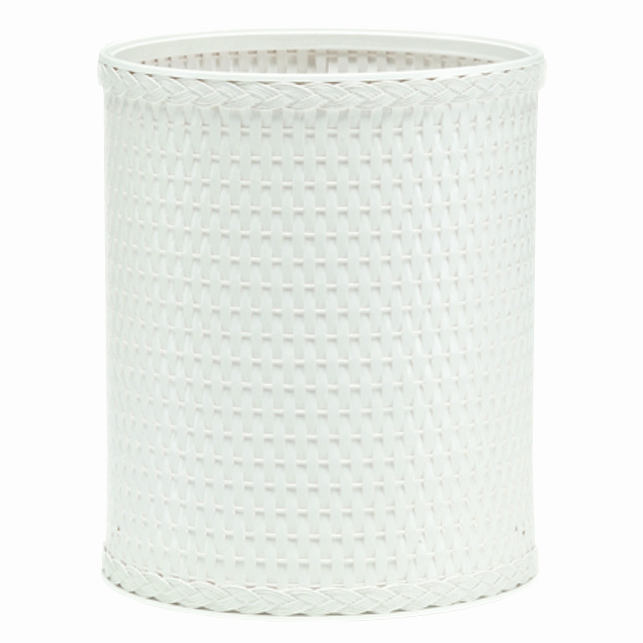 Chelsea Wicker Round Wastebasket White