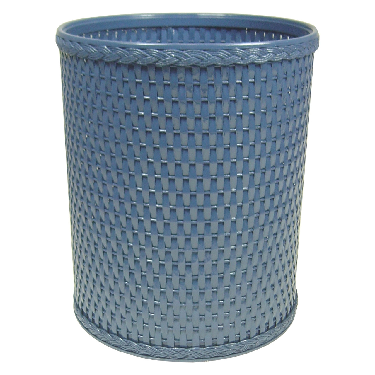 Chelsea Wicker Round Wastebasket Coastal Blue